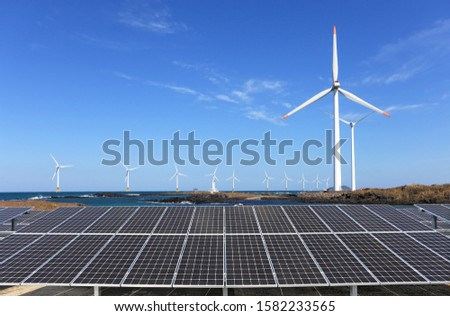 Offshore wind power generation and sunlight generation landscape