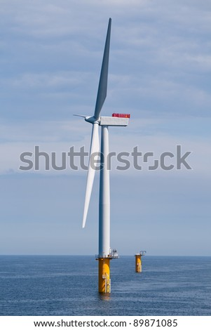 Offshore Wind Turbine in a Windfarm under construction  off the English Coast