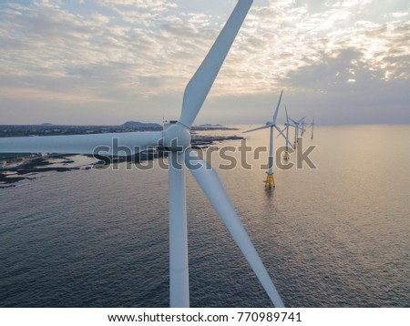 Offshore wind turbines farm , Jeju island, South Korea