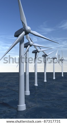 Offshore wind turbines with a blue sky in portrait composition