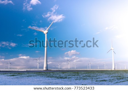 Offshore Windmill farm in the ocean  Westermeerwind park , windmills isolated at sea on a beautiful bright day Netherlands Flevoland Noordoostpolder white landscape with snow cold December weather #773523433