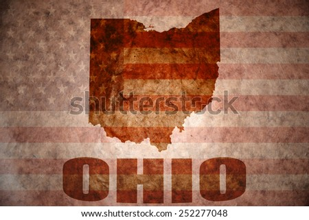 ohio map on a vintage american...