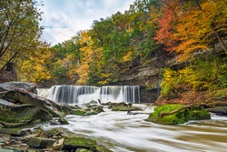 Ohio's Great Falls of Tinker's Creek is surrounded by a beautiful display of fall foliage color.