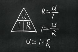 Ohm's Law triangle drawn on a blackboard with chalk