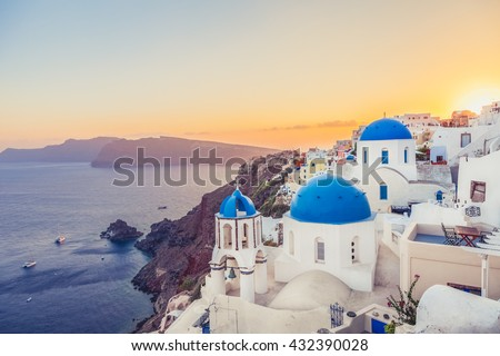 oia at sunset  santorini island ...