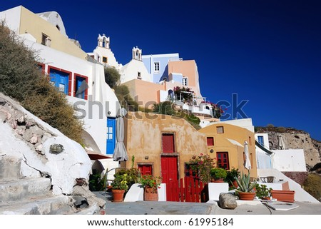 Oia is a community on the islands of Thira (Santorini) and Therasia, in the Cyclades, Greece.