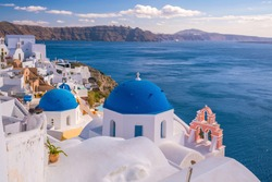 Oia town cityscape at Santorini island in Greece. Aegean sea