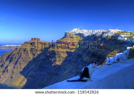 Oia Town on Cliff, Santorini, Cyclades, Greece