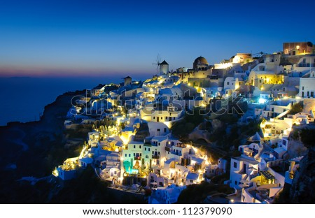 Oia village in Santorini at in the evening, Greece