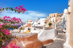 Oia village, Santorini island, Greece, on a bright day