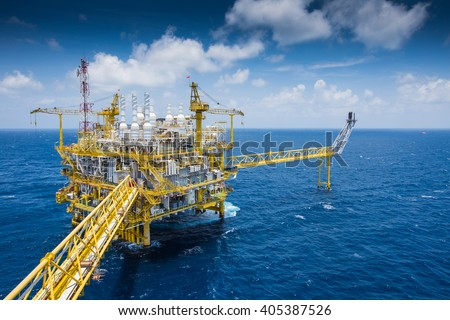 Oil and Gas central processing platform at top view in the gulf of Thailand in strong wind and high wave #405387526