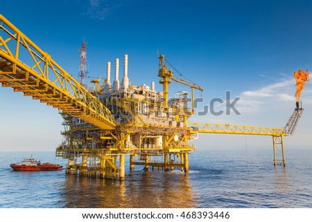 Oil and gas central processing platform produced gas for sent to onshore refinery and oil sent to storage tank or tanker.