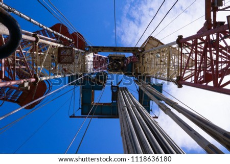 Oil and Gas Drilling Rig. Oil drilling rig operation on the oil platform in oil and gas industry.