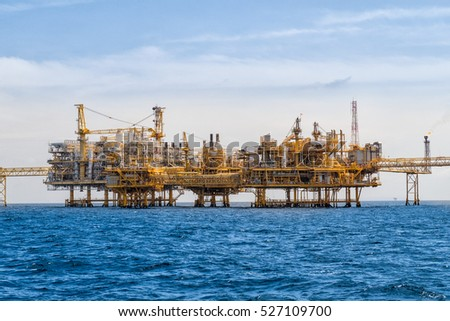 Oil and gas industrial platform in the gulf or the sea, The world energy of oil and gas company, Offshore oil and rig construction.