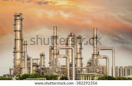 Oil and gas industry - refinery at sunset - factory - petrochemical plant