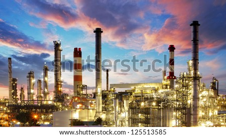 Oil and gas industry - refinery at twilight - factory - petrochemical plant