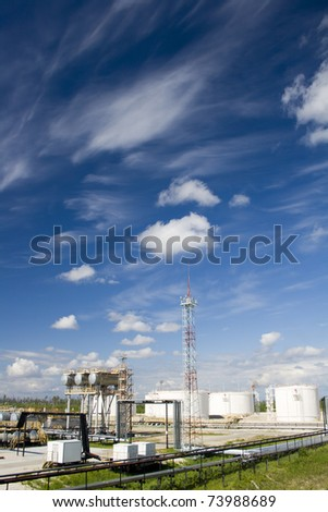 Oil and gas industry. Work of refinery petrochemical plant. Oil reservoir and storage tank of mineral oil