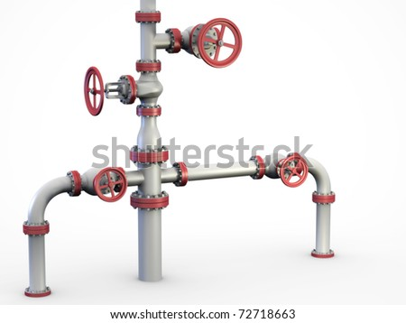 "Oil and gas pipe system also known as a ""Christmas tree"" Wellhead."