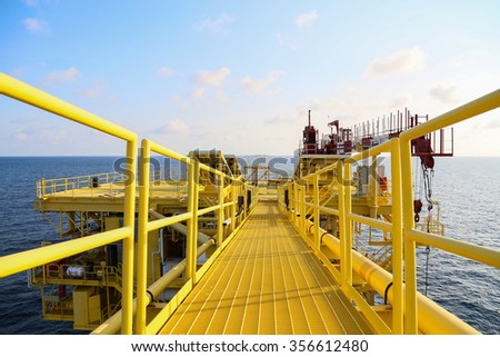 Oil and gas process platform. Remote platform for production oil and gas, Construction in offshore. #356612480