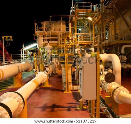 Oil and Gas Procress night dark lights