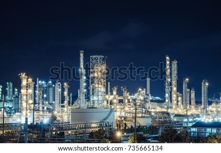 Oil and Gas refinery industry plant with lighting, Factory at night time, Petrochemical plant, Petroleum