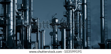 oil and gas refinery, panoramic view, duplex dark blue toning idea