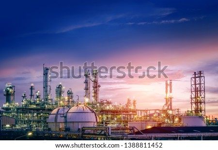 Oil and gas refinery plant or petrochemical industry on sky sunset background, Factory with evening, Manufacturing of petrochemical industrial #1388811452