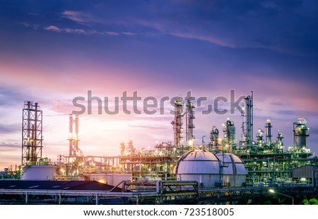 Oil and gas refinery plant or petrochemical industry on sky sunset background, Factory with evening, Gas storage sphere tank in petrochemical industrial #723518005