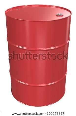 Oil Barrel. Red Oil Barrel, Metal Lid. Isolated.