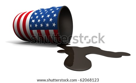 Oil barrel with a USA flag painted on it, leaking oil running onto the ground.