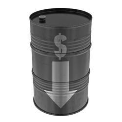 Oil barrel with dollar sign and arrow, isolated