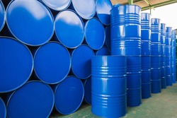 Oil barrels blue  or chemical drums horizontal and vertical stacked up