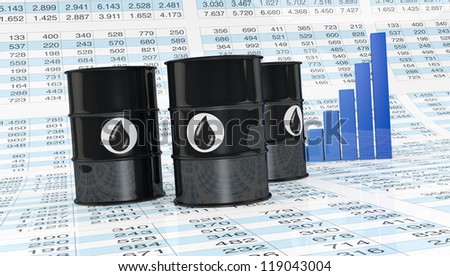 oil barrels with a graph chart behind them and a spreadsheet as floor (3d render)