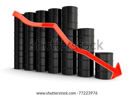 Oil barrels with decreasing arrow