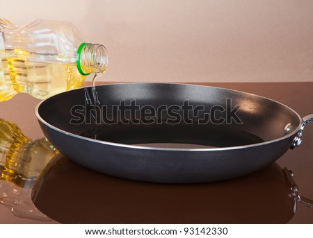 OIl Being Poured into a Non-Stick Pan for Cooking