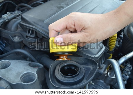Oil cap on the car engine