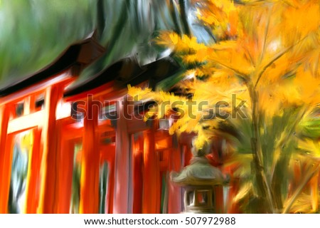 Oil color painting japan heritage Fushimi Inari Taisha