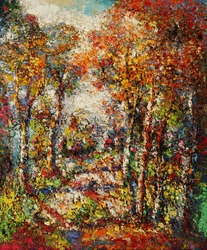 Oil color painting on canvas, Picture of the trees and forest in Thailand.