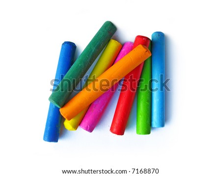 Oil crayons isolated on white