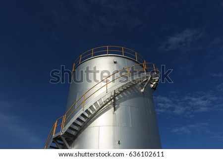 Oil Depot, Tank Farm, Industrial Petrochemical Oil for Airplane with Blue Sky. Set as Copy Space for Text.