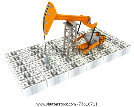 Oil derrick and money on a white background