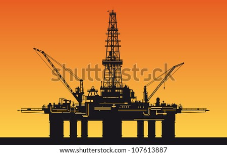 Oil derrick in sea for industrial design. Vector version also available in gallery