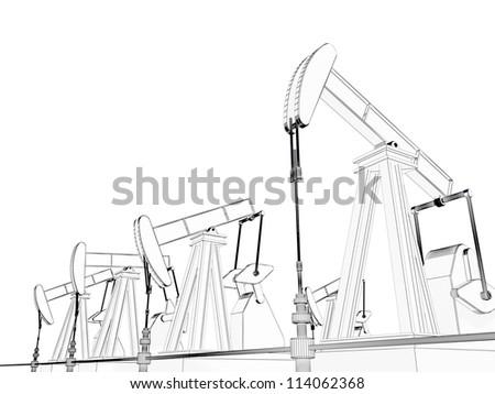 oil derrick on a white background