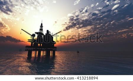 oil drill rig platform on the sea