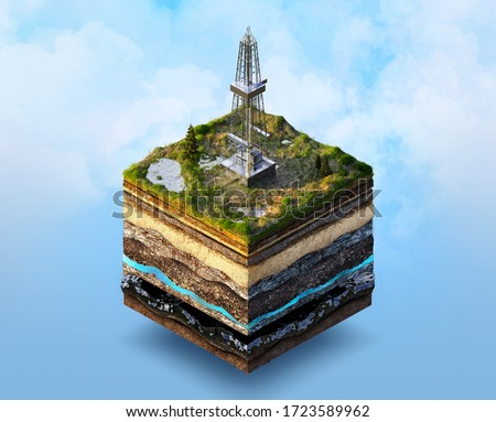 Oil drilling, extraction 3D isometric illustration. Soil layers cross section, onshore oil gas drilling rig isolated. Crude oil resources, gas, oil, fuel market industry, petroleum production concept