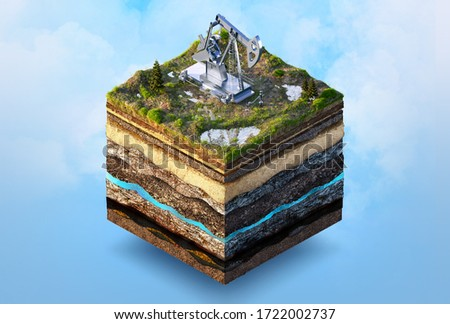 Oil drilling, extraction 3D isometric illustration. Soil layers, ground cut cross section with oil pump jack isolated. Crude oil resources, gas oil industry, petroleum production concept infographic