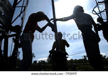 Erdölbohrung in Bontang, Kalimantan, Indonesien, Asien