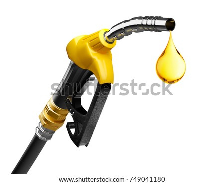 Oil dripping from a gasoline pump isolated on white background - 3D Rendering