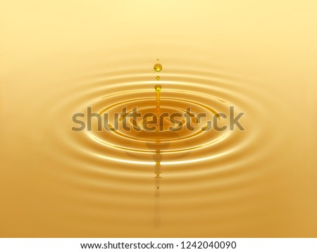 Oil drop splash with oil droplets. Minimal liquid oil design background. Skin care, beauty, cosmetic, engine oil concept. 3D illustration
