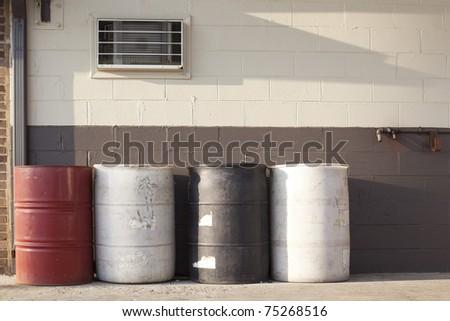 oil drums in garage